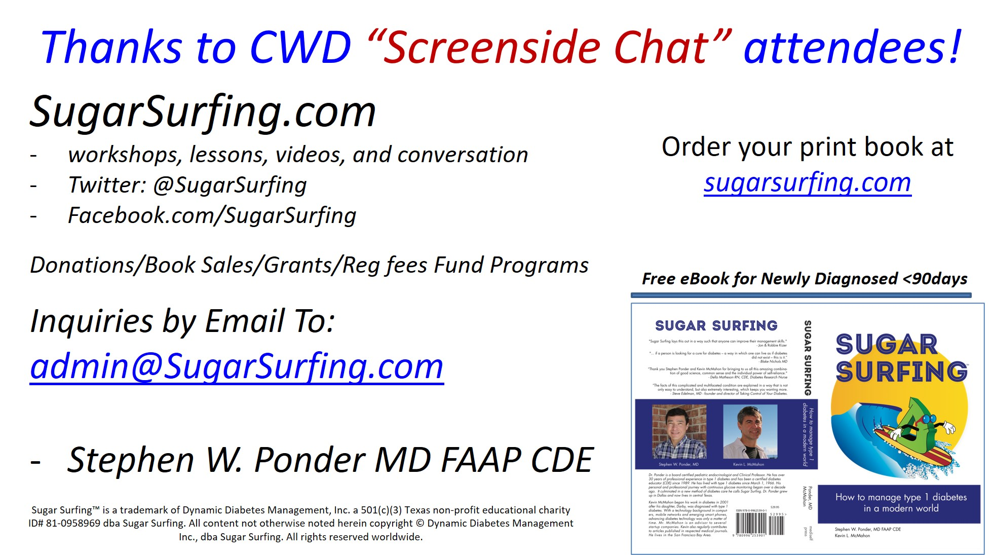 Sugar Surfing graphic for CWD 2020